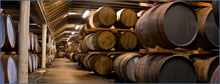 Rickhouse used for storing barrels of aging whiskey