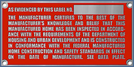 FIg. 5 - Example of a Mobile Home Certification Label